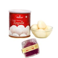 500 gram (1/2kg) Haldiram Rasgulla and 1 Gram Diamond Saffron