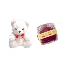 Small White Teddy Bear and 1 Gram Diamond Saffron